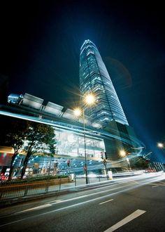 The Hong Kong Apple Store at night.