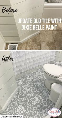 Update your bathroom tile with Dixie Belle Paint Company. These tiles were painted with the colors Driftwood and Fluff. #dixiebellepaint #bestpaintonplanetearth #chalklife #homedecor #doityourself #diy #chalkmineralpaint #chalkpainted #easypeasypaint #makingoldnew #whybuynew #justpainting #paintedfurniture