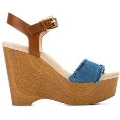 Michael Michael Kors Platform Wedge Sandals ($83) ❤ liked on Polyvore featuring shoes, sandals, blue, blue wedge shoes, michael michael kors sandals, wood platform sandals, leather shoes and michael michael kors shoes