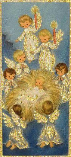 weihnachten engel Christmas - Glitter Animations - Snow Animations - Animated images - Page 5 Christmas Scenes, Christmas Nativity, Retro Christmas, Christmas Angels, Christmas Art, Christmas Greetings, Winter Christmas, Christmas Glitter, Christmas Poinsettia