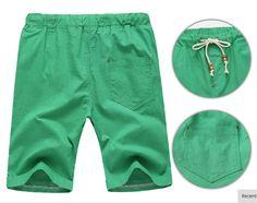 2017 Linen Shorts High Quality Beaded Drawstring Men's Casual Beach - Green - Shorts