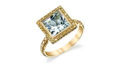 This is Ricardo Basta's aquamarine and yellow diamond ring in 18-karat yellow gold ($6,800).