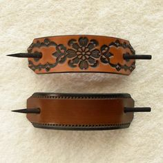Retro Leather Hair Barrettes with Sticks by ExpressionsInLeather, $10.00