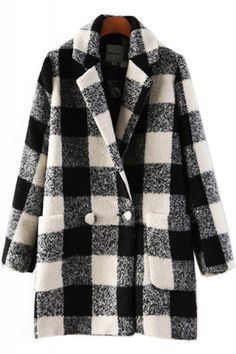 Plaid Two-pocket Lapel Long Sleeve Outerwear