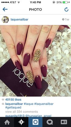 matte burgundy& gold rhinestones