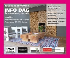 """Infodag """"relaxen in de tuin"""" Big Pillows, Jenga, Relax, Lounge, Airport Lounge, Drawing Rooms, Lounges, Lounge Music, Family Rooms"""