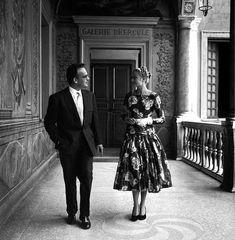 1955 Galerie d'Hercule Grace Kelly Palais Princier de Monaco Prince Rainier floral meeting dress white gloves.