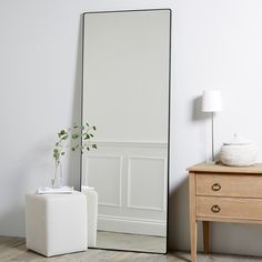 Chiltern Thin Metal Full Length Mirror is part of Home Accessories Bedroom Mirror - Chiltern Thin Metal Full Length Mirror Mirrors Home Accessories Home The Full Body Mirror, Long Mirror, Metal Mirror, Mirror Vinyl, Full Length Mirror In Bedroom, Full Length Mirrors, Golden Mirror, Mirror Mirror, Hallway Mirror