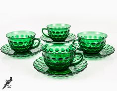 TheCordialMagpie on Etsy: Set of 4 Emerald Green Bubble Glass Tea Cups / Coffee Cups with Saucers Anchor Hocking 1934 Depression Glass Mid Century Modern