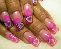 Valentine Nail Art Designs and Colors Heart Nail Designs, Valentine's Day Nail Designs, Nail Designs Pictures, Beautiful Nail Designs, Beautiful Nail Art, Acrylic Nail Designs, Gorgeous Nails, Nails Design, Acrylic Nails