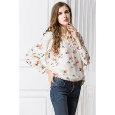 Beige V Neck Long Sleeve Bird Print Casual Top (115 SEK) ❤ liked on Polyvore featuring tops, beige, bird print top, mixed print top, beige top, v neck long sleeve top and long sleeve tops