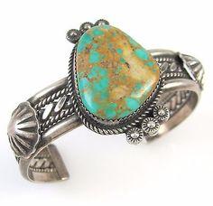 TAHE-Vintage-Navajo-Handmade-Sterling-Silver-Royston-Turquoise-Cuff-Bracelet-J