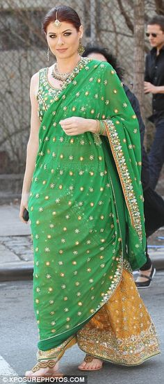 Debra Messing in a beautiful lehenga ensemble shooting for NBC's Smash, Feb, 12