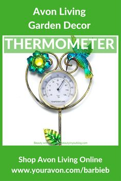 Avon Living Flutter Collection Garden Stake Thermometer - Decorate your garden with the garden stake thermometer. Beginners and gardening gurus alike will find delight in this essential, elegant green thumb good. Not only for decor, featuring a hummingbird and flower, but for a convenient thermometer to have in the backyard. Regularly $19.99 Buy Avon Living Garden and Outdoor Décor at https://barbieb.avonrepresentative.com
