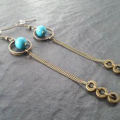 Longues boucles d'oreilles pierre semi précieuse turquoise bronze