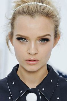 Louis Vuitton Spring/Summer 2012 makeup - highlighter, peachy lipgloss, lashes