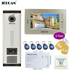 JERUAN 7 inch LCD Monitor 700TVL Camera Apartment video door phone 6 kit+Access Control Home Security Kit+free shipping #Affiliate