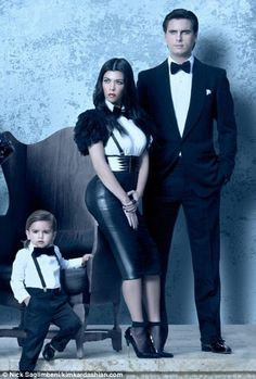 Sleek and sassy: Rob, Kendall and Kylie were also joined by Kourtney, Scott Disick and their scene-stealing son Mason