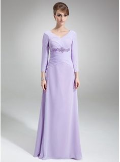 A-Line/Princess V-neck Floor-Length Chiffon Mother of the Bride Dress With Ruffle Lace Beading -$136