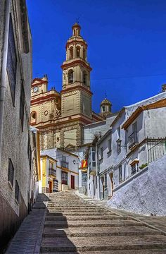 Street leading up to the church and castle in Olvera, Spain
