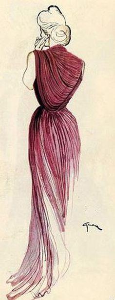 Burgundy Lady! Rene Gruau for Madame Gres