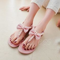 Thong Slip-On Bead Bowtie Plain Women's Sandals - m.tbdress.com