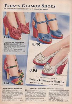 Summer 1942 Sale - Chicago Mail Order Company   VintageStitches.com   Shoes shoes beautiful shoes!
