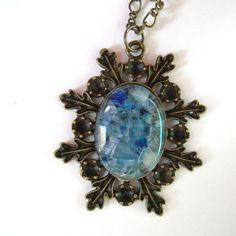 Fused Glass Pendant  Snowflake Necklace  Light Blue by Tocasol