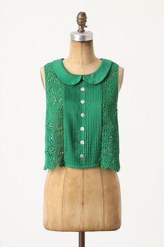 Anthropologie | Cropped Lace Blouse