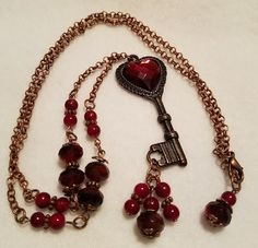 Lynn Leigh Designs FUF 02/02/18 - B'Sue by 1928 Rusted Iron Pewter Key with vintage heart cabochon from B'Sue.  Czech beads and chain from my stash.