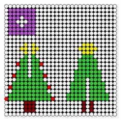 3D Christmas Tree Perler Bead Pattern