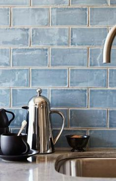 """Would love to redo the backsplash in our kitchen! Beautiful blue handmade tile backsplash Cafe Collection subway tile in """"water"""" Kitchen And Bath, New Kitchen, Kitchen Ideas, Kitchen Grey, Kitchen Stuff, Kitchen Decor, Decoration Chic, Handmade Tiles, Tile Design"""
