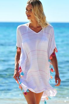 Seafolly White Multi Stripe Kaftan