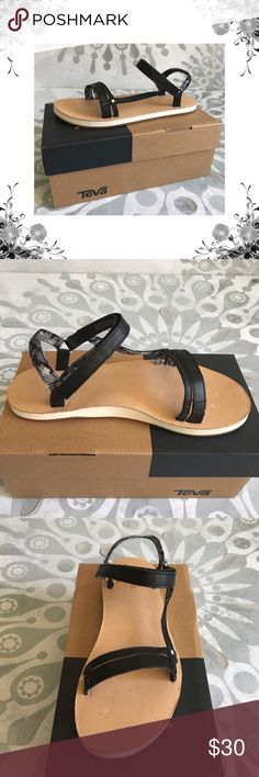 "Teva Slim Universal Black Slingback Sandals Manufacturer Color is Black. New with box. Slingbacks. Heel Height is approx 3/4"".  Platform Height is approx 3/4"". Velcro Closure. Material is Leather/Textile/Man Made. There are some marks on the foot bed from moving around in the box. Not noticeable when worn. Please see pics. Bundle for discounts! Thank you for shopping my closet! Teva Shoes Sandals"