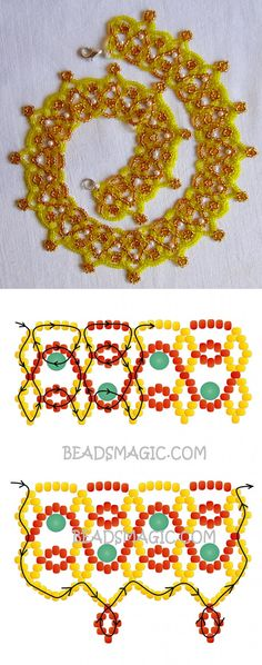 Free pattern for beaded necklace Daffodil 11/0-4 mm