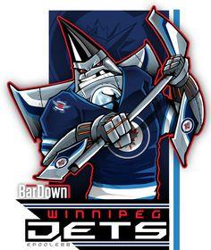 Here's cartoon of the Winnipeg Jets. Jets Hockey, Hockey Logos, Nhl Logos, Sports Team Logos, Hockey Games, Hockey Party, Funny Hockey, Team Mascots, Nhl News