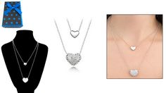 60% off Gold Plated Double-Heart Necklace with Rhinestones ($8 instead of $20)