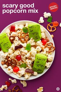 Me. Want. Popcorn. Me. Want. Now. Mix up your Halloween snack time with popcorn paired with your favorite gummies. Then, top it off with scary cute Peeps Marshmallow Monsters for a fun added extra. Now all you have to do is plan the perfect scary movie night marathon and chow down.