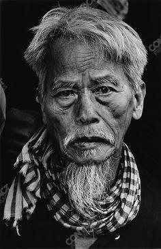 Portrait of an old Vietnamese man during the Têt offensive, Battle of Hué, Vietnam, February 1968