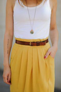 white tank + yellow skirt + brown belt