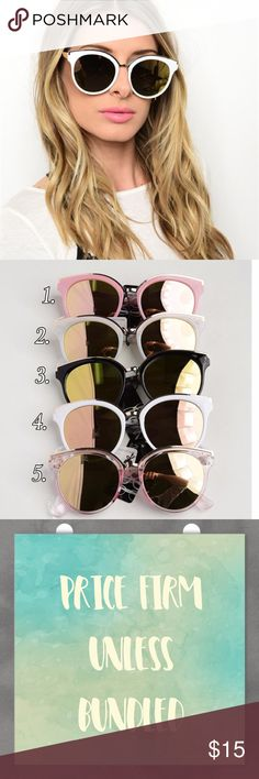 Fashion Mirrored Sunglasses Fashion Mirrored sunglasses with top gold trim. Available in 6 colors as shown in pic 2. Choose your color when checking out. Price firm! Unless bundled Accessories Sunglasses
