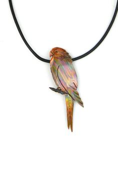 Handcrafted flame painted copper budgie by ImagesbyKentOlinger