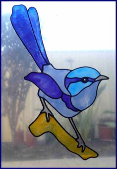 Faux leadlight SPLENDID WREN window cling / decal. Hand painted, stained glass…