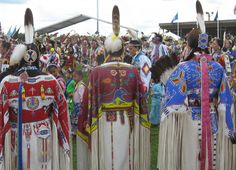 A Group of Northern Buckskin Women Traditional Dancers.