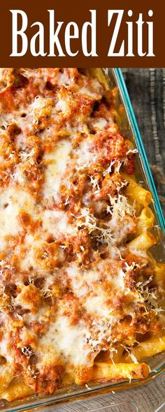 Baked Ziti! Pasta with sausage, tomato sauce and loaded with cheese. So EASY and so good, perfect for a family meal!!