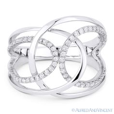 The featured ring is cast in 14k white gold and showcases a fancy design made up of overlapping loops and pave-set round brilliant cut diamonds.