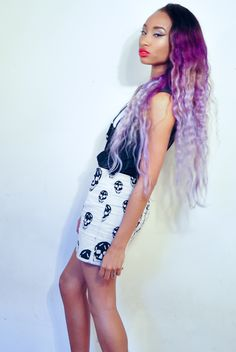 Purple lilac ombre hair