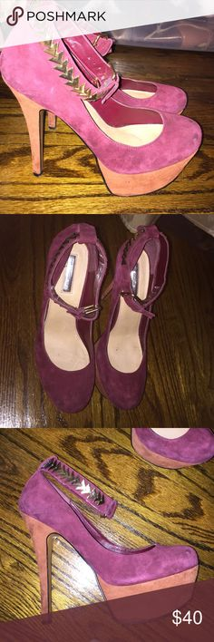 H by Halston Pumps Plum and rust platform heels with gold chevron ankle strap ! H by Halston Shoes Platforms