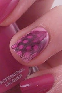 Inlaid Pink+Black Spotted Guinea Feather (Over Rosy Pink Polish)