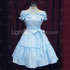 Short Sleeve Knee-length Cotton Sweet Lolita Dress - USD $46.99